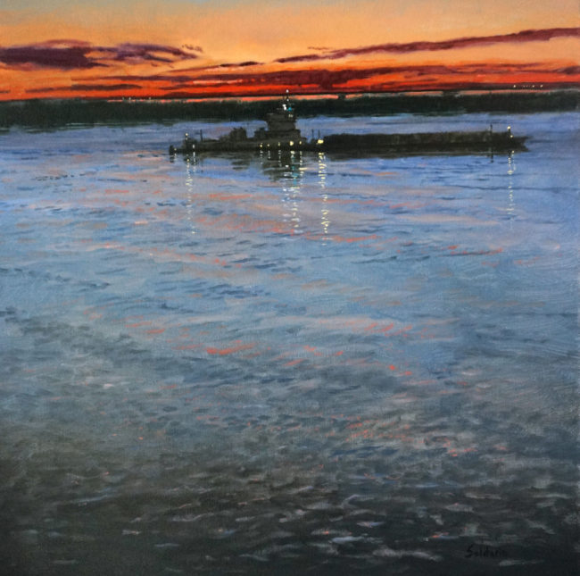 Sunset on Miss River 24x24