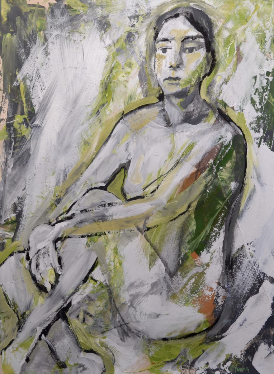 Figure in Garden Colors    signed    A.YOUNG