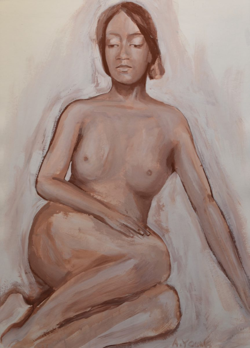 Seated Figure in Earth Tones  signed    A.YOUNG